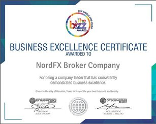 World Confederation of Businesses Presents NordFX with Business Excellence Award